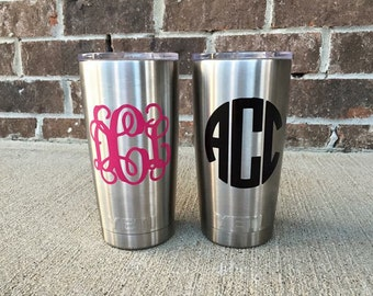 Tumbler Monogram Decal - Tumbler Decal for Women - Cup Decal for Men - Cup Stickers - Initial Decal - Name Decal for Tumbler - Vinyl Decal