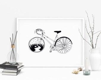 Bike Print - Road Bike Print - Road Bike Illustration - Bike Illustration - Bike Art - Bike Wall Art - Black and White Art Print - Bike Gift