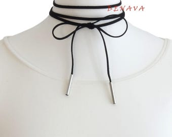 Choker chain necklace black silver necklace