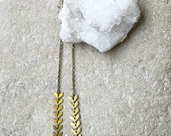 Chevron and Quartz, Clear Quartz necklace, Gemstone necklace, Gemstone and geometric necklace
