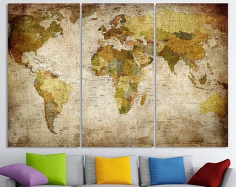Vintage World Map Art On Canvas Vintage Map Set For - World map canvas