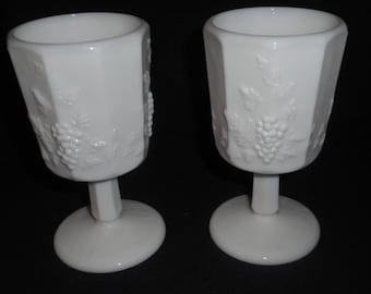 Westmoreland Milk Glass Paneled Grape Water Goblets - Vintage - Pair