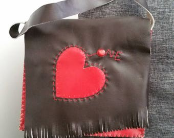 "Bag ""One love,"" unique, handmade, leather."