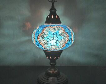 Turkish Mosaic Table Lamp 7'' 1 Big Globe-Blue, Turkish/Moroccan Mosaic Handmade Table Lamp