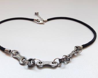 Bike chain necklace, bike jewelry, bicycle jewelry, chain necklace, leather necklace, bike leather necklace