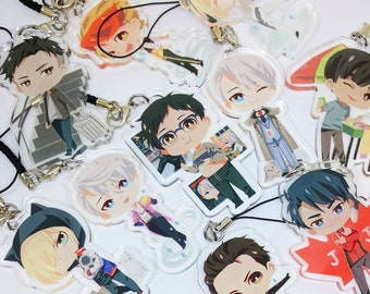 "Yuri!!! on Ice 2.5"" inch Clear Acrylic charms"