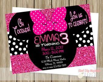 Minnie Mouse Glitter Birthday Party Invitation, Birthday Invite, Pink, Polka Dot, 5x7 digital printable