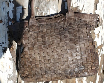 SALE- Soft Dark Brown Italian Woven Leather Handbag