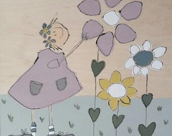 picking flowers pastel