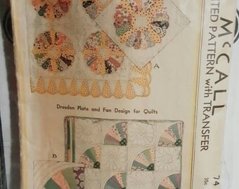 1933 McCall 74 Quilt Pattern with Transfer Cut INCOMPLETE See Details