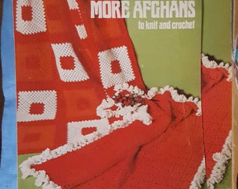 1974 Leisure Arts Leaflet 34 More Afghans to Knit and Crochet Pattern Leaflet Not a PDF