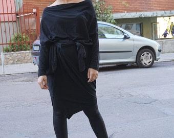Flattering Oversized Black Maxi Sexy Dress, Asymmetric Loose Dress, Long Black Dress, Party Wear, Clubwear, Pagan Wear, kaftan Dress