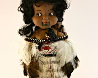 Gorgeous vintage Maori doll with baby and chin tatoos tiki necklace New Zealand dress straw and feather