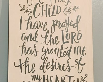 For This Child I Have Prayed wall decor sign