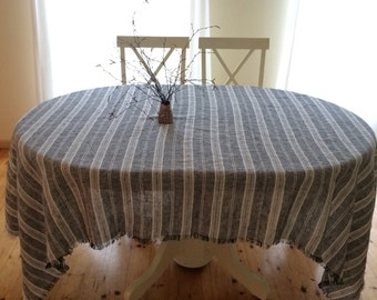 Black and White Tablecloth,  Striped Linen Tablecloth, Square Tablecloth, Rectangle tablecloth, Tablecloth with Fringes