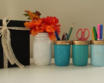 office Table decor, painted Mason Jars, kid table Decor, blue ombre, Rustic Home Decor, Table Centerpiece