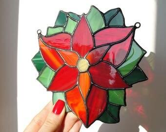Poinsettia Stained Glass Suncatcher Red Flower Christmas Ornament