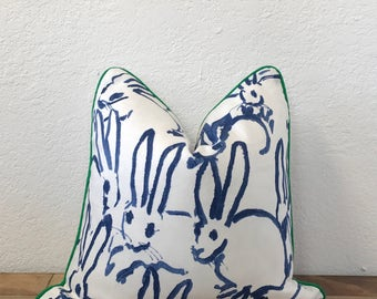 White Pillow, Hunt Slonem, Hutch Print, Groundworks, Decorative Pillow, Navy Pillow, Bunny Print Pillow, Throw Pillow, Sofa Pillow