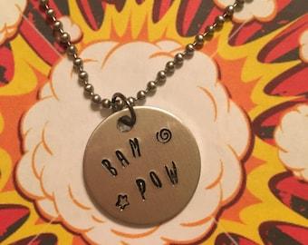 BAM POW comic book necklace