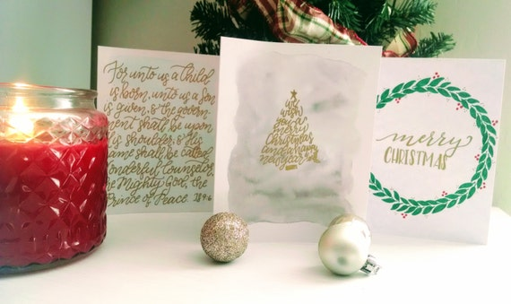 Merry Christmas cards, Gold, Pack of 3