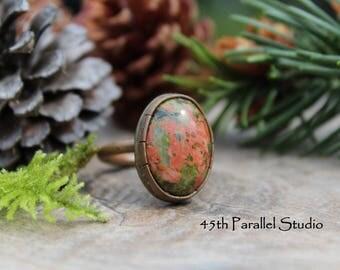 Unakite Ring, Copper Gemstone Ring, Unakite Copper Ring, Statement Ring, Green Pink Gemstone Ring, Unakite Jewelry