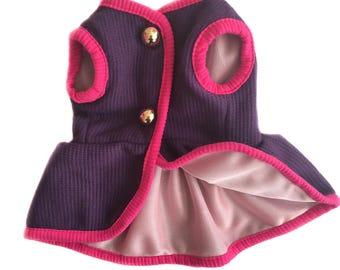 purple dog dress, small dog dress, cat  dress, chihuahua dress, french poodle dress, french bulldog dress