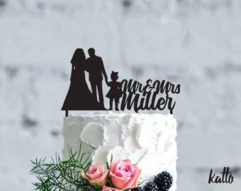Family Wedding cake topper- Wedding cake topper- Silhouette wedding cake topper- Personalized cake topper- Personalized wedding Cake Topper