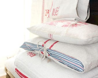 Vintage French Grain Sack Coverlet Material- Red Monogram