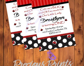 Printable Lady Bug One Year Old Birthday Invitation