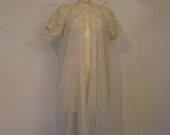 Vintage nighty, vintage robe, lingerie, night gown, sheer robe, Radclife medium