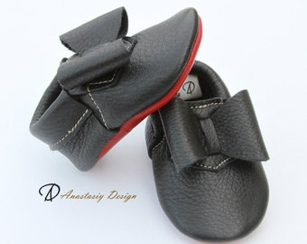 Baby Moccasins Leather Louboutin Inspired Black Baby Moccasins, Red Sole Moccasins, Baby Girl Moccasins, Baby Girl Shoes, Baby Moccs