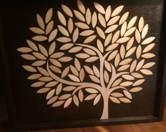3D in the form of a tree, baby shower or baby shower decoration, Guest Book wooden guestbook