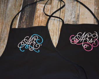 Mr and Mrs Wedding Gift Aprons - Can be Personalized with Bride and Groom's First or Last name - Many Colors of Aprons