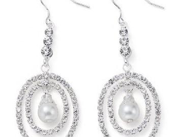 Pearl & Crystal Drop Earrings - Wedding/Bridal/Bridesmaid/Prom EA6031j