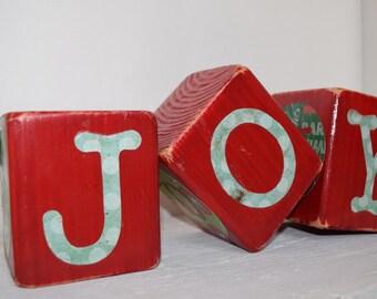 Christmas Reversible Joy Blocks | Christmas Joy Blocks | 4 sided Christmas Blocks | Christmas Blocks