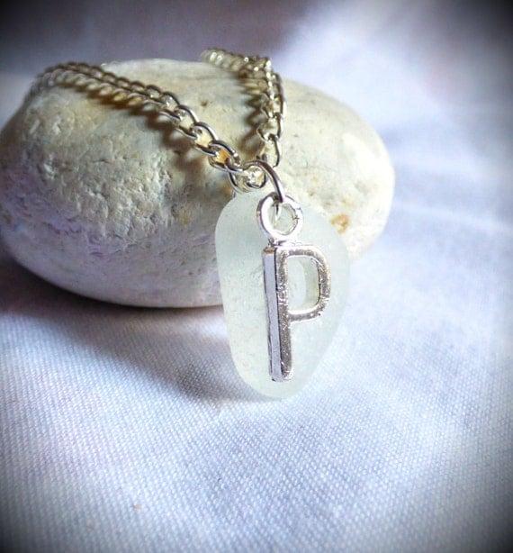 Initial P, Seaglass Jewelry, Initial Pendant, Seaglass Initial, P Pendant, Letter Pendant, Alphabet Jewelry, Alphabet Pendant - PC17017