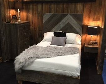 reclaimed wood bed farmhouse bed chevron headboard farmhouse decor reclaimed wood headboard rustic bed frame rustic bedroom decor