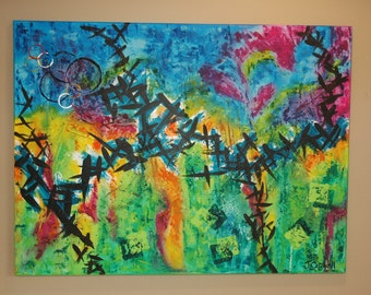 Original Abstract Painting 30x40 Canvas Bright Multi Color Acrylic Artwork