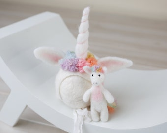 Felted Rainbow Unicorn bonnet set