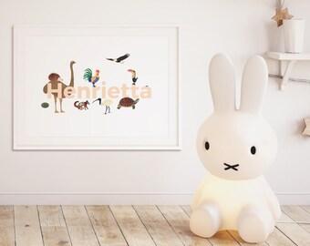 Nursery prints, Animal prints nursery, nursery art, baby gift, animal nursery print personalized baby baby shower gift alphabet print decor