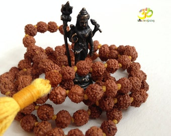 108 Rudraksha Mala, 5 Mukhi Rudraksha Necklace for Mantra and Meditation, Yoga prayer beads, Lord Shiva beads