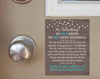 No Soliciting Door Magnet, Do Not Knock Sign, Do Not Ring Doorbell Sign, Funny Sign, Family Welcome, Friends Welcome, Deliveries Welcome