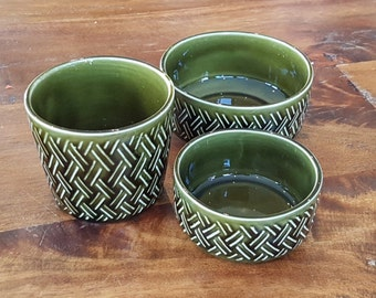 Delightful Vintage Crown Devon trio of pots. Dark olive green glaze with a basket weave effect, Made in England, 1960s Staffordshire Pottery