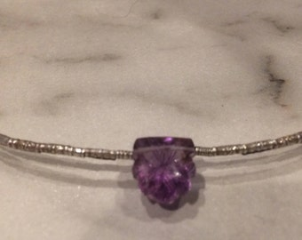 Very Different Carved Fancy Amethyst Sterling Silver necklace
