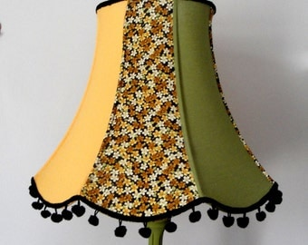 Black and mustard floral home made lampshade - vintage style