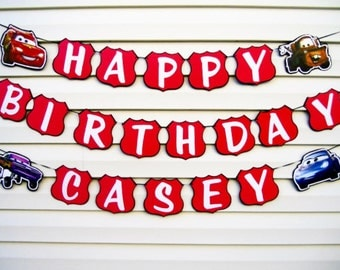 Cars Birthday Banner - Disney's Cars Party Decorations - Cars Banner - Cars Movie Banner - Lightning Mcqueen Banner