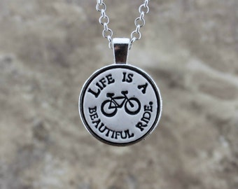 Life is a Beautiful Ride Handmade Pottery Necklace