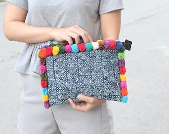Batik Clutch With Colorful Cotton Pompoms