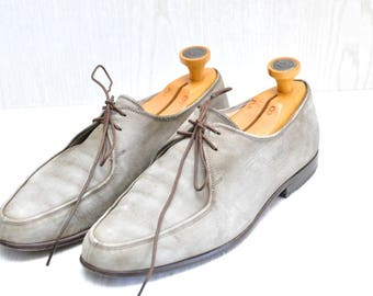 Vintage Men's Bally Oxford Shoes Size 8 M Gray Distressed Leather Lace Up Loafers 2 Eyelet Mens Casual Shoes 1960's switzerland