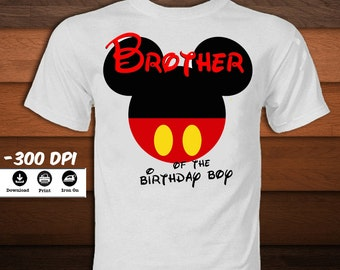 Mickey Mouse Iron on Transfer Brother Shirt-Disney Mickey Mouse T-Shirt-Mickey mouse party decoration t-shirt-INSTANT DIGITAL DOWNLOAD